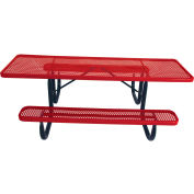 "8' ADA Picnic Table, Steel, Double-Sided, 2-3/8"" Frame, Perforated, Red"