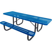 "8' ADA Picnic Table, Steel, Single-Sided, 2-3/8"" Frame, Perforated, Blue"