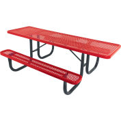 "8' ADA Picnic Table, Steel, Single-Sided, 2-3/8"" Frame, Perforated, Red"