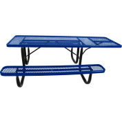 "8' ADA Picnic Table, Steel, Single-Sided, 2-3/8"" Frame, Diamond, Blue"