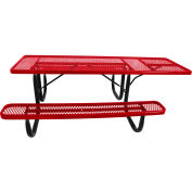 "8' ADA Picnic Table, Steel, Single-Sided, 2-3/8"" Frame, Diamond, Red"