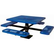 "46"" Single Pedestal Square Table, Surface Mount, Expanded Metal 78""W x 78""D - Blue"