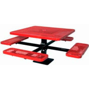 """46"""" Single Pedestal Square Table, Surface Mount, Expanded Metal 78""""W x 78""""D - Red"""