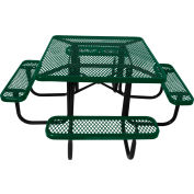 "46"" Steel Square Picnic Table, Diamond Pattern, Green"