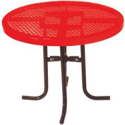 "30"" High Food Court Round Table, Diamond 36""Diameter - Red"