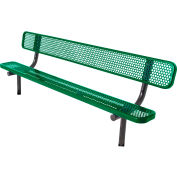 8' Bench with Back, Perforated, In Ground, Green