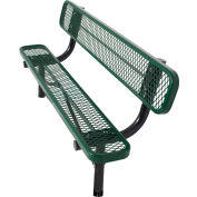 8' In-Ground Bench w/ Back, Diamond Pattern, Green