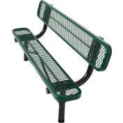 8' In-Ground Bench w/ Back, Diamond Pattern, Green
