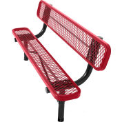 8' In-Ground Bench w/ Back, Diamond Pattern, Red