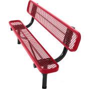 8' In-Ground Bench w/ Back, Diamond Pattern, Red