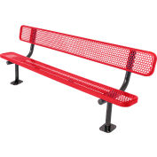 8' Bench with Back, Perforated, Surface Mount, Red
