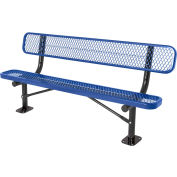 6' Surface Mount Bench w/ Back, Diamond Pattern, Blue