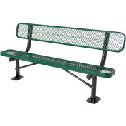 6' Surface Mount Bench w/ Back, Diamond Pattern, Green