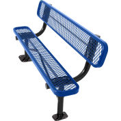 8' Surface Mount Bench w/ Back, Diamond Pattern, Blue