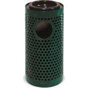 UltraPlay Metal Thermoplastic Coated Ash/Trash Receptacle, Perforated w/Liner, Black - PR-12AT-BLK