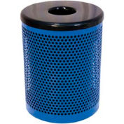 32 Gallon Thermoplastic Coated Perforated Pattern Trash Receptacle - Blue
