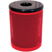 32 Gallon Thermoplastic Coated Perforated Pattern Trash Receptacle - Red