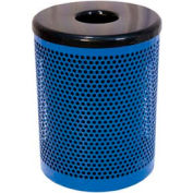 55 Gallon Thermoplastic Coated Perforated Pattern Trash Receptacle - Blue