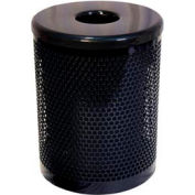 55 Gallon Thermoplastic Coated Perforated Pattern Trash Receptacle - Black