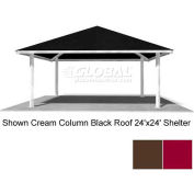 Square 24' Shelter, Terra Brown Square Columns, Brandywine Multi Rib Roof
