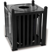 UltraPlay 32 Gallon Savannah Bow Receptacle w/Flat Top Lid & Plastic Liner - SV-B32FT-BLU