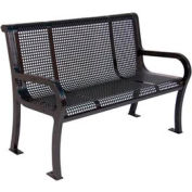"4' Lexington Bench, Perforated 48""W x 25""D - Black"