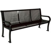 "6' Lexington Bench, Perforated 72""W x 25""D - Black"