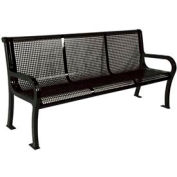"8' Lexington Bench, Perforated 96""W x 25""D - Black"