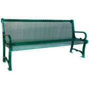 6' Charleston Bench With Back, Diamond - Green