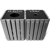 UltraPlay (2) 20 Gallon Gray Recycle Trash Receptacle w/Lid, Plastic/Can - TRSQ-40-GRY-P/C