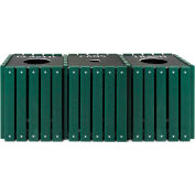 UltraPlay (3) 20 Gallon Green Recycle Trash Receptacle w/Lid Plastic/Trash/Glass - TRSQ-60-GRN-P/T/G
