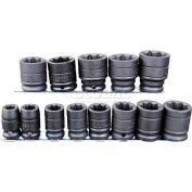 """Urrea Impact Socket Set, 74J8P, 1/2"""" Drive, 8 Pt, 3/8""""-1 1/8"""", 13 Pieces W/Clips & Rail"""