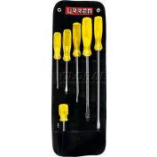 Urrea Amber Handle Screwdriver Set, 9600B, Flat Tip, 6 Pieces