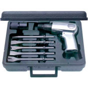 "Urrea Air Hammer Set W/5 Assorted Chisel Tips UP711K, 3200 BPM, 1/4"" Air Intake NPT"