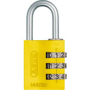ABUS Anodized Aluminum Resettable 3-Dial Combination Lock 145/30 C - Yellow - Pkg Qty 6