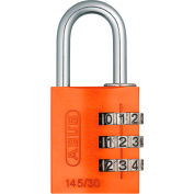 ABUS Anodized Aluminum Resettable 3-Dial Combination Lock 145/30 C - Orange - Pkg Qty 6