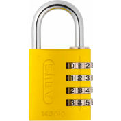 ABUS Anodized Aluminum Resettable 3-Dial Combination Lock 145/40 C - Yellow - Pkg Qty 6