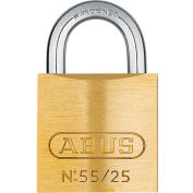 ABUS Solid Brass Padlock 55/25 B KA with Hardened Steel Shackle - Keyed Alike 1""