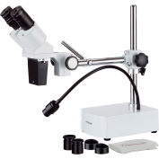 AmScope SE400-Z 10X-20X Binocular Stereo Microscope on Boom Arm Stand with LED Gooseneck Light
