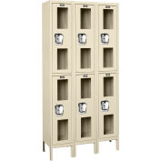 """Global Industrial™ Double Tier 6 Door Clear View Locker, 12""""Wx15""""Dx36""""H, Tan, Unassembled"""