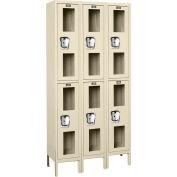 """Global Industrial™ Double Tier 6 Door Clear View Locker, 12""""Wx18""""Dx36""""H, Tan, Unassembled"""