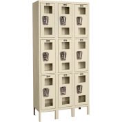"Global Industrial™ Triple Tier 9 Door Clear View Locker, 12""Wx18""Dx24""H, Tan, Unassembled"