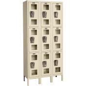 "Global Industrial™ Triple Tier 9 Door Clear View Locker, 12""Wx12""Dx24""H, Tan, Unassembled"