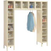 """Global Industrial™ 16 Person Clear View Locker, 12""""Wx18""""Dx12""""H, Tan, Unassembled"""