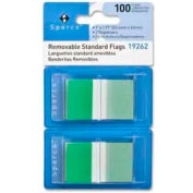 """Sparco™ Removable Standard Flags, 1"""" x 1-3/4"""", Green, 50 Flags/Dispenser, 2 Dispensers/Pack"""