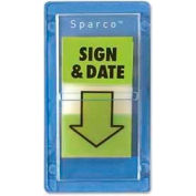 "Sparco™ ""Sign and Date"" Flags, 1"" x 1-3/4"", Green, 100 Flags/Pack"