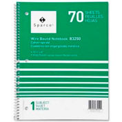 "Sparco™ 1-Subject Notebook, 8"" x 10-1/2"", Wide Ruled, Bright White, 70 Sheets/Pad"
