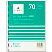 "Sparco™ 1-Subject Notebook, 8"" x 10-1/2"", College Ruled, Bright White, 70 Sheets/Pad"