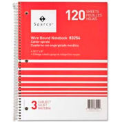 "Sparco™ 3-Subject Notebook, 8"" x 10-1/2"", College Ruled, Bright White, 120 Sheets/Pad"