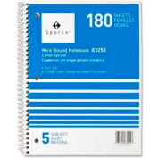 "Sparco™ 5-Subject Notebook, 8"" x 10-1/2"", College Ruled, Bright White, 180 Sheets/Pad"